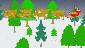 Santa, έλκηθρο, μύγα ταράνδων, έδαφος στη στέγη απόθεμα βίντεο