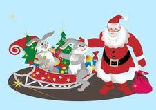santa απεικόνισης λαγών Claus ανασ Στοκ Εικόνες