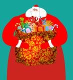 Santa από τη Ρωσία - μεγάλος σάκος παγετού πατέρων των δώρων για το παιδί Στοκ Φωτογραφίες