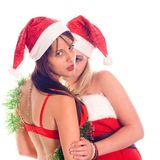 santa δύο πορτρέτου κοριτσιών στοκ φωτογραφίες