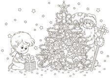 Santa και ένα κορίτσι με ένα δώρο Χριστουγέννων ελεύθερη απεικόνιση δικαιώματος
