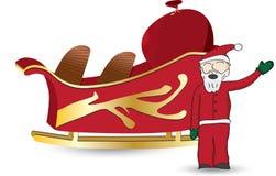 Santa και έλκηθρο Στοκ Εικόνα