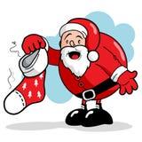 Santa και βρώμικη γυναικεία κάλτσα Στοκ Φωτογραφίες