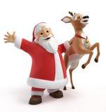 Santa και τάρανδος Στοκ Εικόνες