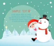 Santa και χιονάνθρωπος, Χαρούμενα Χριστούγεννα, καλή χρονιά, σχέδιο Χαρούμενα Χριστούγεννας με το ευρύ διάστημα αντιγράφων, Άγιος Στοκ Εικόνα