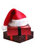 santa καπέλων δώρων Χριστουγέν&n Στοκ Εικόνες