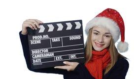 santa καπέλων κοριτσιών απόθεμα βίντεο