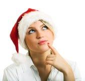santa καπέλων κοριτσιών Στοκ εικόνα με δικαίωμα ελεύθερης χρήσης