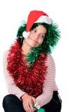 santa καπέλων που φορά τη γυναίκα Στοκ φωτογραφία με δικαίωμα ελεύθερης χρήσης