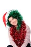 santa καπέλων που φορά τη γυναίκα Στοκ εικόνα με δικαίωμα ελεύθερης χρήσης