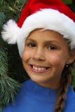 santa καπέλων s κοριτσιών Στοκ Εικόνες