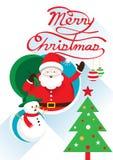 Santa, κείμενο Χριστουγέννων & χιονάνθρωπος Ελεύθερη απεικόνιση δικαιώματος