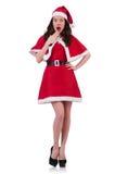 Santa κοριτσιών χιονιού στην έννοια Χριστουγέννων Στοκ Εικόνα