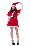 Santa κοριτσιών χιονιού στην έννοια Χριστουγέννων Στοκ Φωτογραφίες