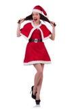 Santa κοριτσιών χιονιού στην έννοια Χριστουγέννων Στοκ Εικόνες
