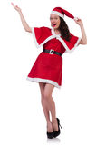 Santa κοριτσιών χιονιού στην έννοια Χριστουγέννων Στοκ εικόνα με δικαίωμα ελεύθερης χρήσης