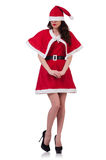 Santa κοριτσιών χιονιού στην έννοια Χριστουγέννων Στοκ εικόνες με δικαίωμα ελεύθερης χρήσης