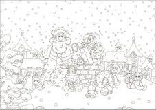 Santa με τα δώρα σε μια χιονισμένη στέγη απεικόνιση αποθεμάτων