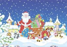 Santa με τα δώρα σε μια χιονισμένη στέγη διανυσματική απεικόνιση