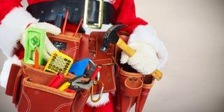 Santa με τα εργαλεία κατασκευής στοκ εικόνα