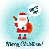 Santa με τα δώρα Χαρούμενα Χριστούγεννα! Επίπεδο σχέδιο διάνυσμα Στοκ Φωτογραφία