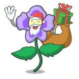 Santa με τα pansy κινούμενα σχέδια μασκότ λουλουδιών δώρων διανυσματική απεικόνιση