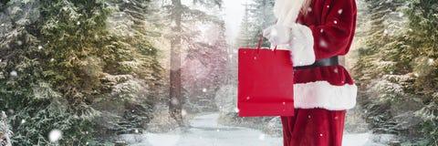 Santa με τις αγορές εκμετάλλευσης χειμερινών τοπίων Στοκ Φωτογραφίες