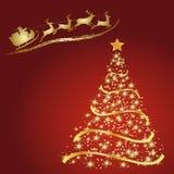 Santa με τον τάρανδο, χρυσό έλατο σε ένα κόκκινο Στοκ Φωτογραφία