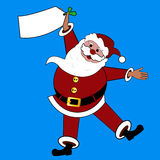 Santa με το σημάδι το /tag copyspace Στοκ Φωτογραφία