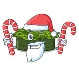 Santa με το chuka καραμελών wakame σε ένα κύπελλο κινούμενων σχεδίων απεικόνιση αποθεμάτων
