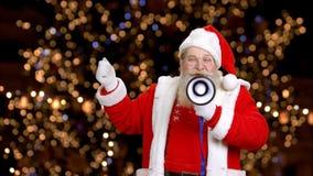 Santa με Megaphone απόθεμα βίντεο