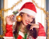 santa πορτρέτου κοριτσιών στοκ φωτογραφία με δικαίωμα ελεύθερης χρήσης