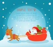 Santa που διανέμει τα δώρα στα παιδιά, σχέδιο αφισών Χριστουγέννων με Άγιο Βασίλη, Santa με τα παιδιά Στοκ Εικόνα