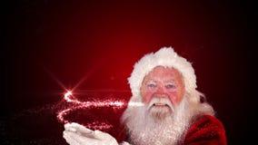 Santa που κάνει ένα μαγικό χριστουγεννιάτικο δέντρο να εμφανιστεί απόθεμα βίντεο