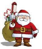 Santa που κρατά έναν σάκο δώρων Στοκ Φωτογραφίες