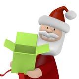 Santa που κρατά ένα ανοικτό κιβώτιο δώρων Στοκ Εικόνα