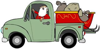 Santa που μεταφέρει το έλκηθρό του Στοκ φωτογραφία με δικαίωμα ελεύθερης χρήσης