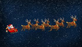 Santa που οδηγά το έλκηθρό του με τους ταράνδους στοκ εικόνα με δικαίωμα ελεύθερης χρήσης