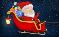Santa που οδηγά το έλκηθρό του στοκ εικόνες