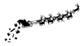 Santa που πετά σε ένα έλκηθρο με τον τάρανδο επίσης corel σύρετε το διάνυσμα απεικόνισης Απομονωμένο αντικείμενο μαύρη σκιαγραφία Στοκ εικόνες με δικαίωμα ελεύθερης χρήσης