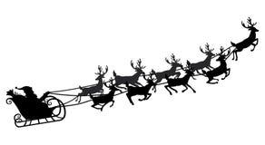 Santa που πετά σε ένα έλκηθρο με τον τάρανδο επίσης corel σύρετε το διάνυσμα απεικόνισης Απομονωμένο αντικείμενο μαύρη σκιαγραφία Στοκ Εικόνα