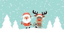 Santa που τραβά το έλκηθρο με το τυρκουάζ ταράνδων διανυσματική απεικόνιση