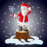 Santa που χάνεται στη νύχτα των Χριστουγέννων Στοκ Εικόνες
