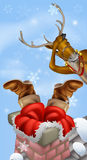 Santa στην καπνοδόχο και τον τάρανδο Στοκ Φωτογραφία