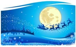 Santa στον ουρανό Χριστουγέννων διανυσματική απεικόνιση