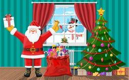 Santa στο δωμάτιο με το χριστουγεννιάτικο δέντρο και τα δώρα απεικόνιση αποθεμάτων