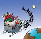 Santa στο ποδόσφαιρο προσοχής ελκήθρων Στοκ Φωτογραφίες