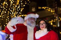 Santa στο φωτισμό δέντρων πόλεων του Λάνκαστερ Στοκ Εικόνα