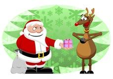 Santa & τάρανδος διανυσματική απεικόνιση