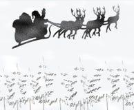 Santa. Flying across christmas trees with snow Royalty Free Stock Photos